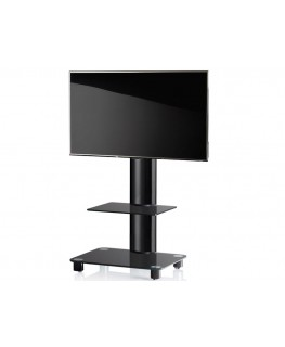 vcm tv standfu bilano schwarz schwarzglas inkl rollen. Black Bedroom Furniture Sets. Home Design Ideas