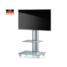 vcm tv standfu bilano silber mit regal mattglas inkl rollen. Black Bedroom Furniture Sets. Home Design Ideas
