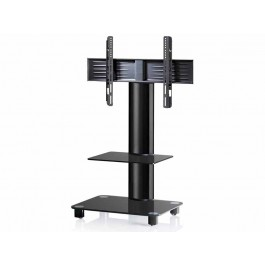 vcm tv standfu tosal schwarz mit regal schwarzglas inkl. Black Bedroom Furniture Sets. Home Design Ideas