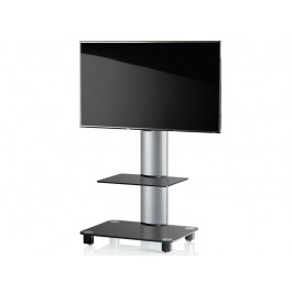 vcm tv standfu tosal silber mit regal schwarzglas inkl rollen. Black Bedroom Furniture Sets. Home Design Ideas