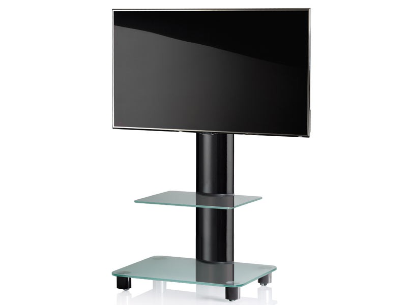 vcm tv standfu bilano schwarz mit regal mattglas inkl rollen. Black Bedroom Furniture Sets. Home Design Ideas