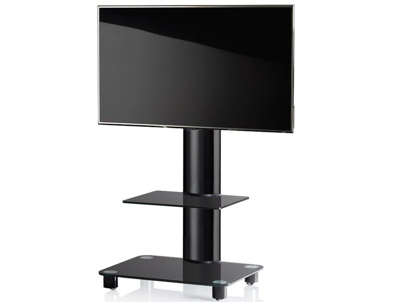 vcm tv standfu bilano schwarz mit regal schwarzglas inkl rollen. Black Bedroom Furniture Sets. Home Design Ideas