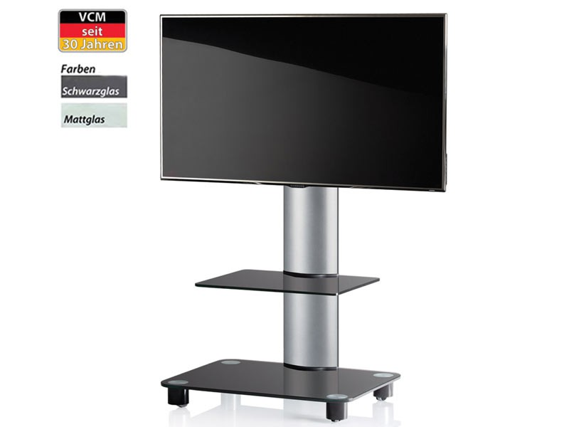 vcm tv standfu bilano silber mit regal schwarzglas inkl rollen. Black Bedroom Furniture Sets. Home Design Ideas