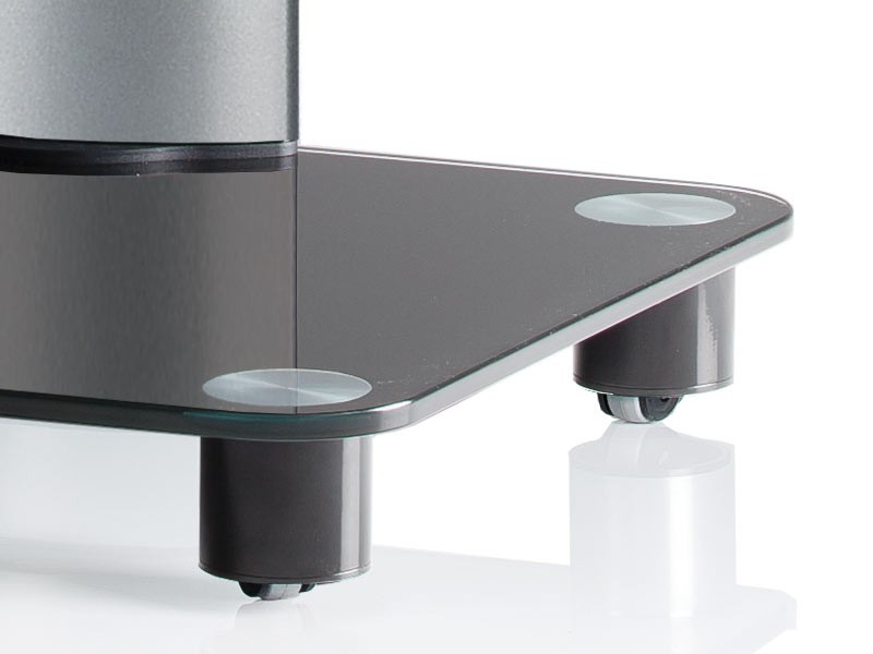 vcm tv standfu tosal silber mit regal schwarzglas inkl rollen. Black Bedroom Furniture Sets. Home Design Ideas