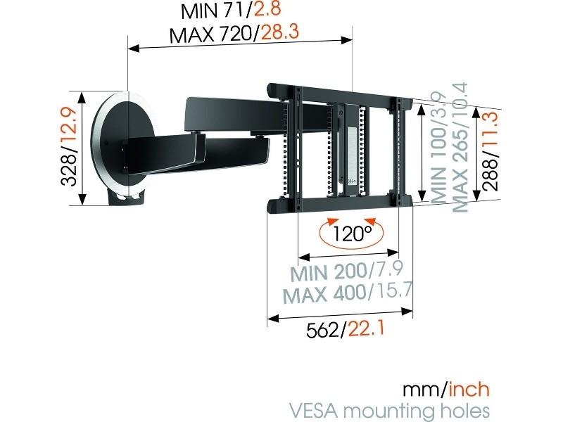 ... Vogels MotionMount NEXT 7356 Elektrisch Schwenkbare TV Wandhalterung  OLED, Maße ...