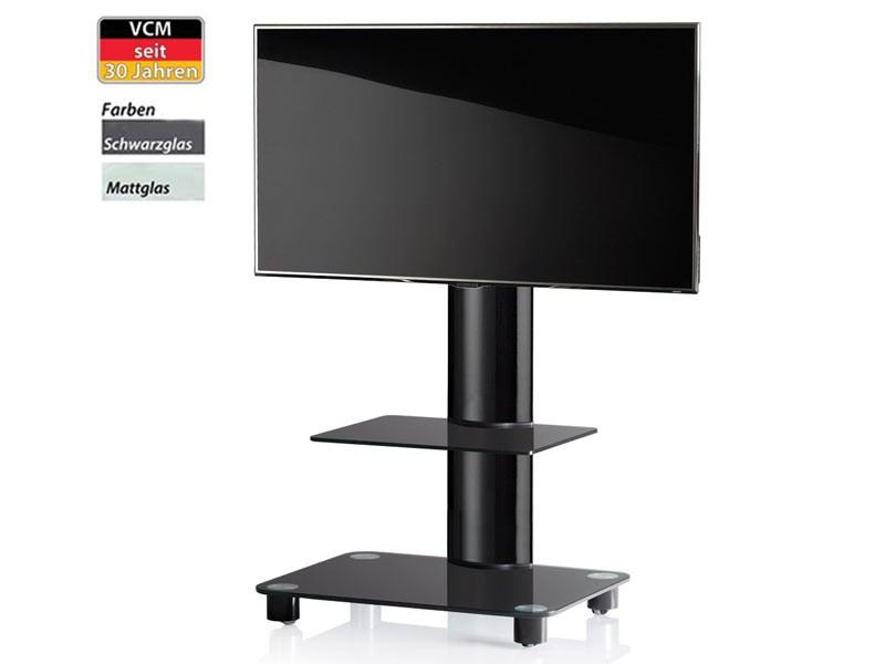 vcm tv standfu bilano schwarz mit regal mattglas inkl rollen. Black Bedroom Furniture Sets. Home Design Ideas