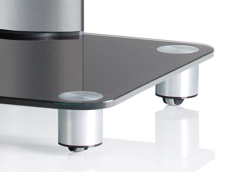 vcm tv standfu bilano silber mit regal schwarzglas inkl rollen. Black Bedroom Furniture Sets. Home Design Ideas