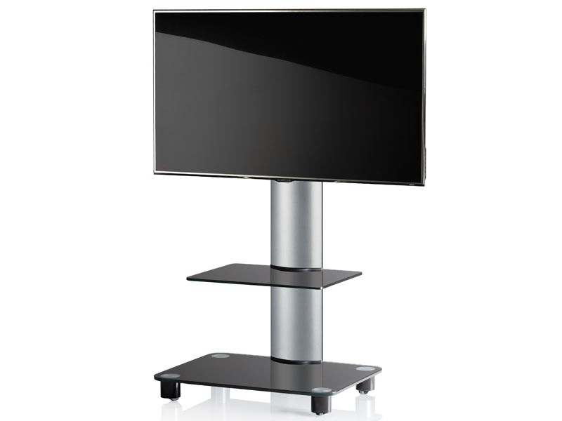 vcm tv standfu tosal silber mit regal schwarzglas inkl. Black Bedroom Furniture Sets. Home Design Ideas