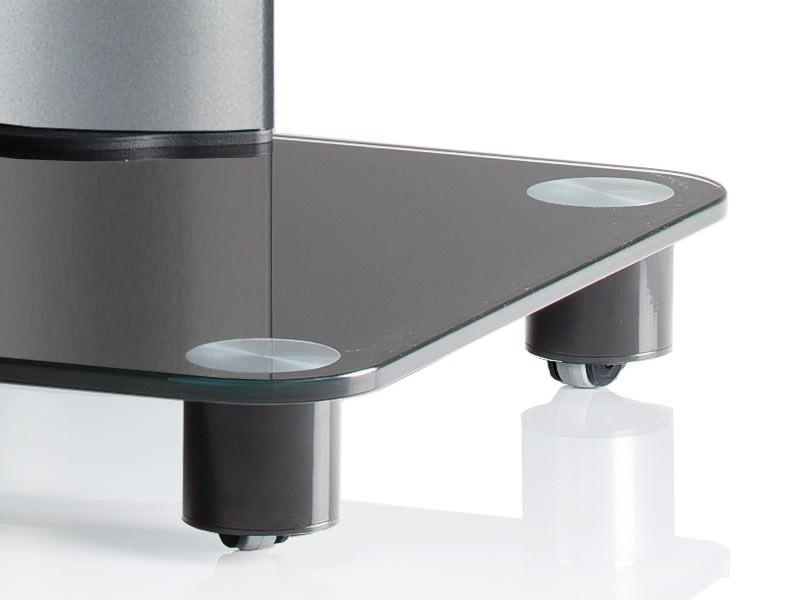 vcm tv standfu tosal silber mit regal schwarzglas inkl. Black Bedroom Furniture Sets. Home Design Ideas