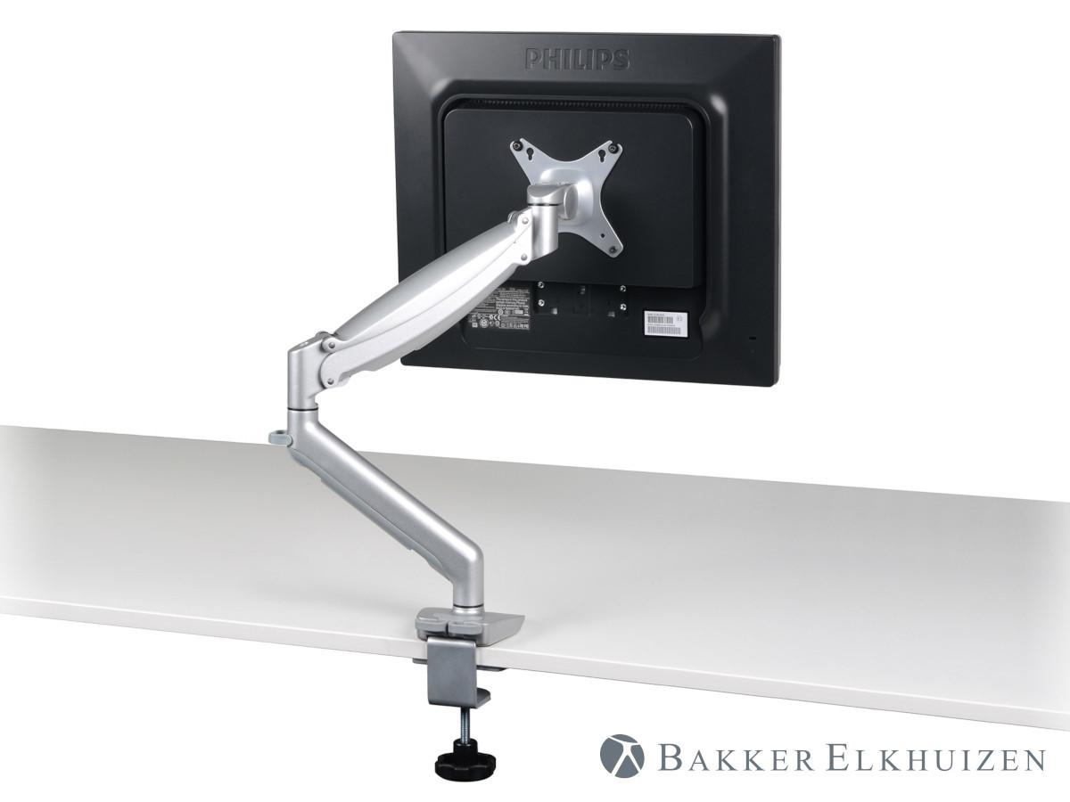 BakkerElkhuizen Tisch Monitorhalterung mit Klemme bis 8 Zoll, silber