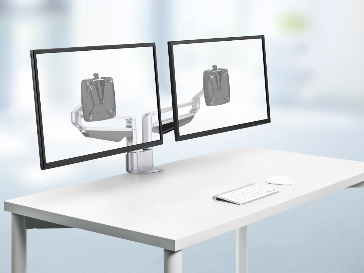 Novus Clu Duo Monitorhalterung mit Tischbefestigung, weiß (8+8+8)